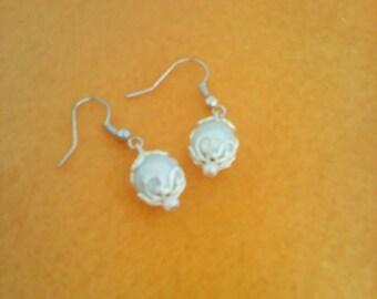 Silver coloured handmade dangly earrings, handmade dangle earrings