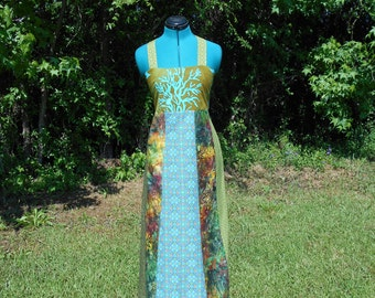 Batik Tree and Leaves Hippie Corset Back Festival Dress -Small #520