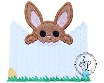 Peeking Bunny Over Fence Applique Embroidered Patch, Sew or Iron on