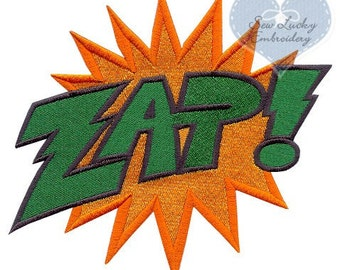 Superhero Power ZAP Word Applique Embroidered Patch, Sew or Iron on