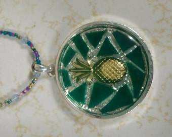Gold/Green Pineapple Mosaic Necklace