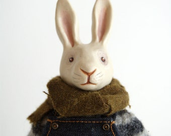 rocco - porcelain white rabbit doll - handmade bunny - collectable art doll