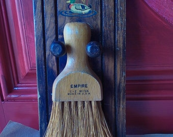 Vintage Empire E-Z Wisk Brush Broom with Wood Holder Rack Mallard Duck Made in U.S.A.
