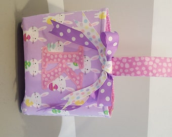 Monogrammed Easter Basket - Purple Bunny with Pink Egg