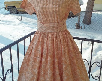 Vintage 1950s Brown Full Skirt Gingham Party Frock Swing Dress Rockabilly VLV Medium UNWORN