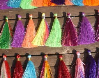 "Beautiful Silky Rayon Hand made Tassels 3"" inches Set Of 50  Mixed Colors"