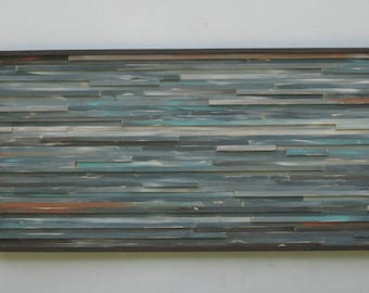 Reclaimed Wood Wall Art- Sculpture- Landscape Painting- Rustic- Abstract- Large Wall Art- King or Queen Headboard- Blue- Coastal Wall Art