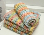 Rainbow Dishcloths - Handmade Crochet Dishcloths - Pastel Rainbow Cotton - Knit Dishcloths - Set of 4