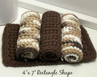 Cotton Dishcloths, Handmade Crochet Dishcloths, EcoFriendly Kitchen Cloths, Brown Dishcloths, Chocolate Ombre Cloths