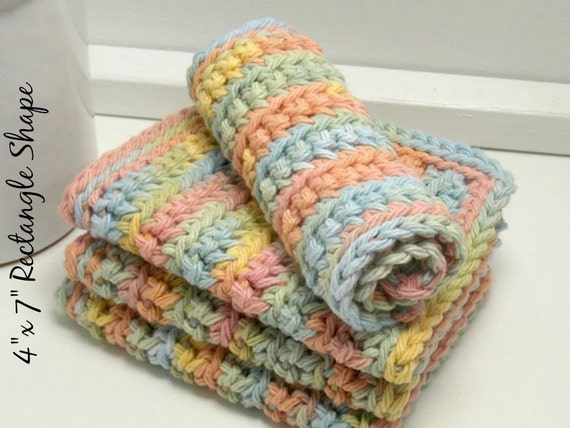 Rainbow Dishcloths - Handmade Crochet Dishcloths - Pastel Rainbow Cotton - Knit Dishcloths - Set of 4