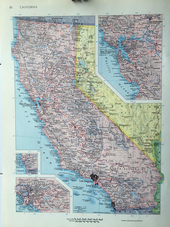 Vintage  Rand McNally World Atlas Map Page Arkansas On One - Los angeles map vintage