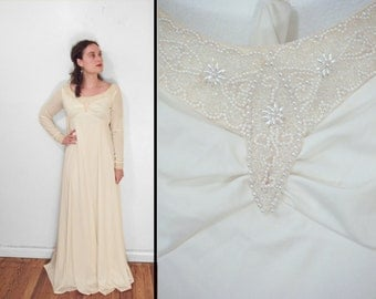 1960s Bridal Gown Bead + Pearl Embellished Bianchi Boutiques Empire Waist Long Sleeve