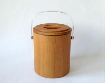 Oak Ice Bucket with Lucite Handle