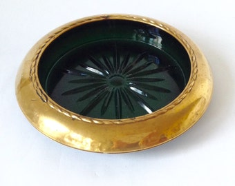 Large Brass and Green Glass Wine Coaster