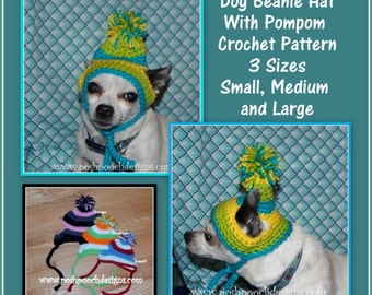 Instant download Crochet Pattern - Dog Beanies with Pompom 3 sizes - Small, Medium and Large