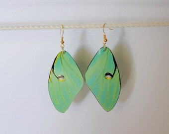 Handcrafted Moth Earrings Jewelry Luna Moth Fish Hook Dangle Drop Sterling Silver 14k gold hypoallergenic earrings Insect Hand Painted
