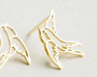 Gold Sparrow Earrings, Bird Watcher Jewelry, Gift For Mom, Fearless Jewelry,Be Fearless Jewelry, Tiny Earrings, Gold Dainty Earrings, Bird