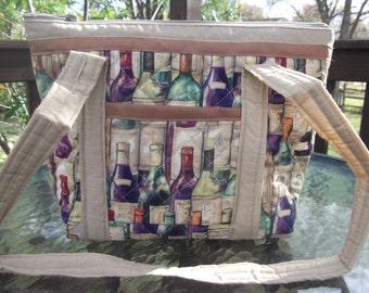 Wine Bottles Machine Quilted Purse