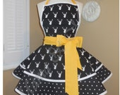 Black And White BuckPrint Accented with Golden Yellow Woman's Retro Apron With Tiered Skirt And Bib