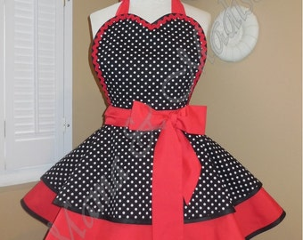 Polka Dot Print Woman's Retro Apron Accented With Red, Featuring Heart Shaped Bib