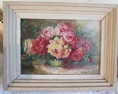Antique, vintage French small framed oil painting of flowers.  Signed.  Paris apartment, cottage chic.