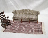 Dollhouse Rug Miniature Hand Woven Area Rug Brick Brown 12th Scale Dollhouse Rug Dollhouse Bedding Miniature Susan Ross Rug Miniature Rug