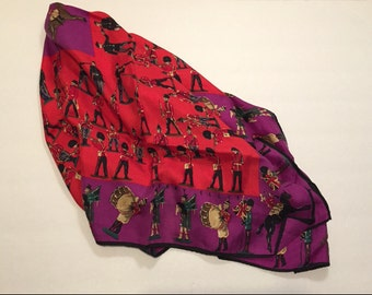 Vintage PERRY ELLIS Large British Lead Soldiers Silk Scarf
