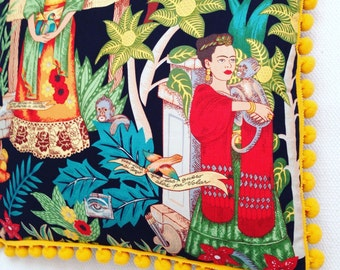 Frida Kahlo Pillow with Jumbo Pom Poms