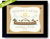 Adventure is Waiting Wedding Gift Outdoor Lovers Unique Couples Gift Framed Art Print Rustic Wedding Canoe Camping Hiking Wilderness Couple