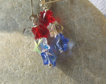 Cute Fourth of July Earrings with Swarovski Star Crystals in Red, White and Blue,  4th of July Earrings on Sterling Lever Backs, Patriotic
