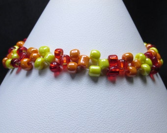 Flame Colored Seed Bead Bracelet (B168)