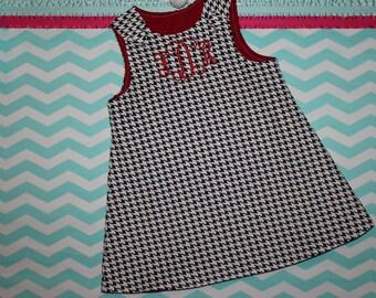 Custom Handmade Girls Monogrammed Black and White Corduroy Houndstooth Holiday Jumper Dress