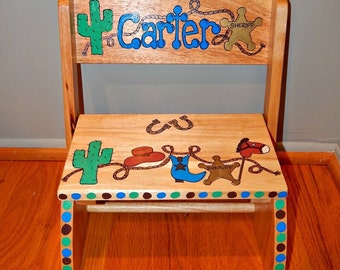 Western Theme Cowboy Hand painted and Personalized Step Stool