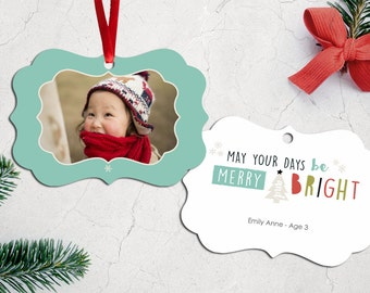 Personalized Photo Christmas Tree Ornament - Double Sided with Ribbon - PG-810