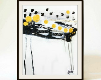 Black and white abstract Art, Modern wall art, Black and gold painting, minimalist paintings by heroux 11x14 inch, #0132