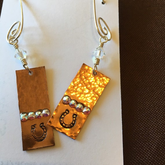 Horseshoe Earrings Copper Sterling Silver With Swarovski Crystals