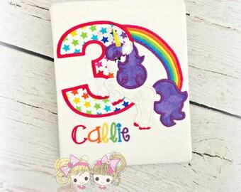 Unicorn rainbow birthday shirt - girls birthday unicorn shirt - purple mane unicorn - embroidered unicorn shirt - personalized unicorn shirt