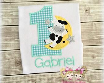 Nursery rhyme birthday shirt - boys first birthday shirt - cow jumped over the moon shirt - fairytale themed shirt - cow and moon shirt