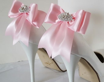 Pink  Wedding Shoe Clips,Bridal Shoe Clips,  MANY COLORS, Satin Bow Shoe Clips, Bridesmaids, Clips for Wedding Shoes, Bridal Shoes