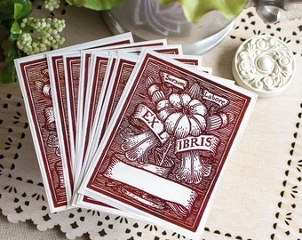 PERSONALIZED Bookplate Stickers- Vintage Burgundy Floral Watercolor