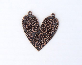 "Copper Damask Heart Charm For Jewelry Making - 1 5/8"" High - Solid Metal Heart Charm With Antiqued Finish"