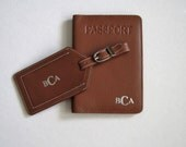 Personalized Groomsmen Gift,Bridesmaids Gift,His & Hers gift, Mr and Mrs gift,Monogrammed Passport cover,Personalized Luggage Tags