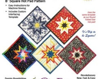 Hot Pad Pattern Folded Star Square Hot Pad Pattern by Plum Easy Patterns