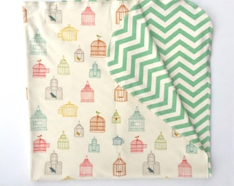 Organic cotton double sided baby wrap/blanket in 'Bird cage and Chevron print'.