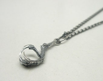 Tiny Hummingbird Claw Necklace- Sterling Silver