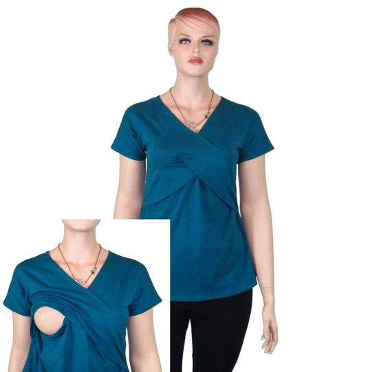 Nursing Top/Shirt-Breastfeeding Shirt-Eco Friendly, Natural Fiber Jersey-Made to Order-Custom Size, Color and Sleeve Length-XXS to Plus Size