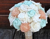 Handmade Wedding Bouquet- Large Peach Mint Ivory Bridal Bridesmaid Bouquet, Alternative Bouquet, Keepsake Bouquet, Rustic Wedding