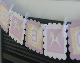 "Yellow & Lavender Purple Polka Dot Rocking Horse Horsey Baby Shower ""Its a Girl"" Banner - Free Ship Over 65"