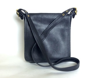 Vintage COACH Black Leather Studio  Flap Crossbody Bag