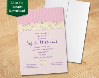 Daisy, Printable Baby Girl Shower Invitation Template Printable 1st Birthday Invitation Template Printable Girl Birthday Invitation Template